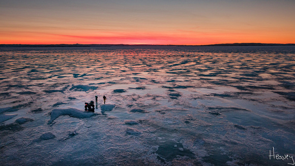 ice fishing on Fort Peck Lake